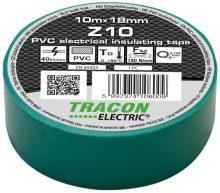 Szigetelőszalag, zöld, 10 m x 18 mm, PVC,  0-90°C Tracon (Z10)