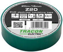 Szigetelőszalag, zöld, 20 m x 18 mm, PVC,  0-90°C Tracon (Z20)