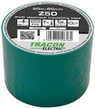Szigetelőszalag, zöld, 20 m x 50 mm, PVC,  0-90°C Tracon (Z50)