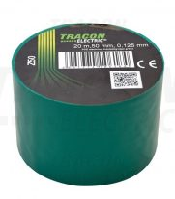 Tracon, Z50, szigetelőszalag, zöld, 20 m x 50 mm, PVC,  0-90°C Tracon (Z50)