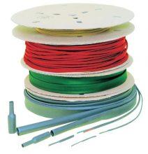 Zsugorcső, vékonyfalú, 2,4/1,2 mm, 2:1 zsugorodás , zöld/sárga, 200 m-es (dobon) Tracon (ZS024ZS-D)