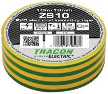Szigetelőszalag, zöld-sárga, 10 m x 18 mm, PVC,  0-90°C Tracon (ZS10)