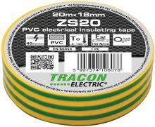 Szigetelőszalag, zöld-sárga, 20 m x 18 mm, PVC,  0-90°C Tracon (ZS20)