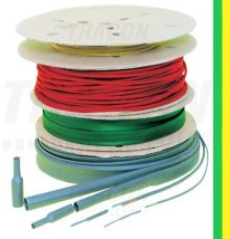 Tracon, ZS254ZS-D, zsugorcső, vékonyfalú, 25,4/12,7 mm, 2:1 zsugorodás , zöld/sárga, 50 m-es (dobon) Tracon (ZS254ZS-D)