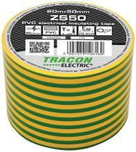 Szigetelőszalag, zöld-sárga, 20 m x 50 mm, PVC,  0-90°C Tracon (ZS50)