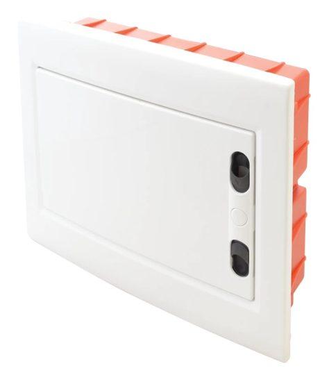 Tracon EDSSN-8/1 Műanyag kiselosztó, 8 modul, 1 sor, teli sík ajtóval, IP40, süllyesztett