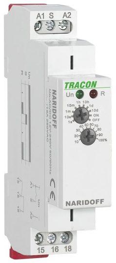 Tracon NARIDOFF Egyfunkciós (elengedéskésleltetéses) időrelé AC/DC 12-240V, 0,1s-10d, 16A/AC1, 250VAC/24VDC