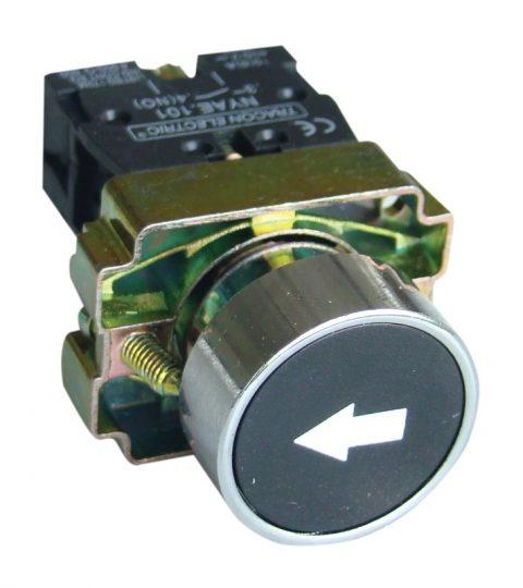 Tracon NYGBA3351 Jelölt nyomógomb, fémalapra szerelt, fekete, (fehér nyíl) 1×NO, 3A/240V AC, IP42