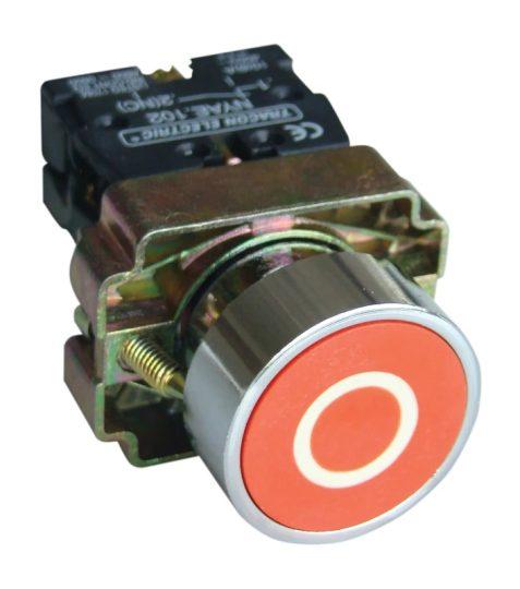 Tracon NYGBA4222PT Tokozott jelölt nyomógomb, fémalapra szer., piros, (fehér 0) 1×NC, 3A/240V AC, IP44