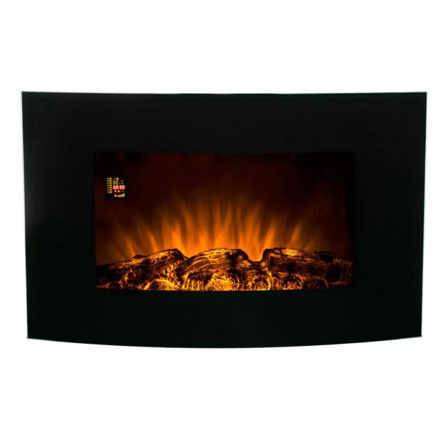 Home FKK 16 elektromos, ventillátoros, fali látványkandalló, valósághű lángeffekttel, fekete színben, max 2000 W teljesítménnyel, elektronikus termosztáttal, IP20 védelemmel, programozható (heti) HOME (FKK 16)
