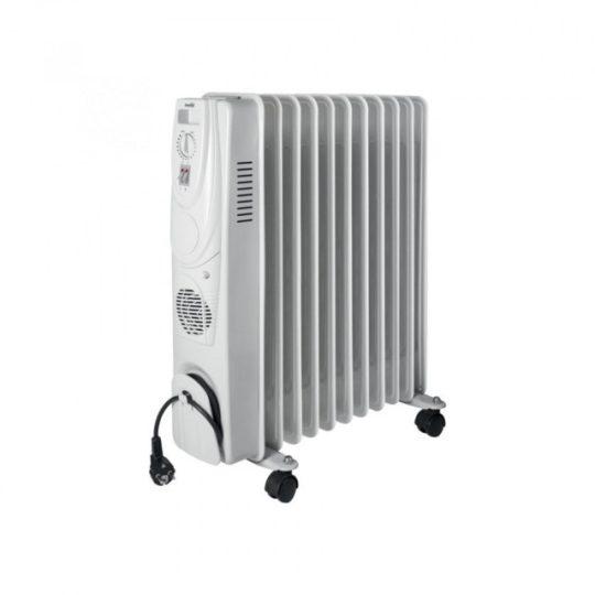 Home FKO 11/T elektromos, ventilátoros olajradiátor, szürke színben, 11 tagú, max 2000 W teljesítménnyel, mechanikus termosztáttal HOME (FKO 11/T)