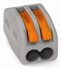 Vezeték összekötő 2 x 0,8-4mm2 -es tömör és sodrott vezetékhez, oldható, WAGO ( 222-412 )