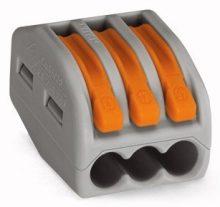 Vezeték összekötő 3 x 0,8-4mm2 -es tömör és sodrott vezetékhez, oldható, WAGO ( 222-413 )