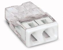 Vezeték összekötő 2 x 0,5-2,5mm2 -es tömör vezetékhez, nem oldható, átlátszó házban, fehér fedéllel WAGO ( 2273-202 )