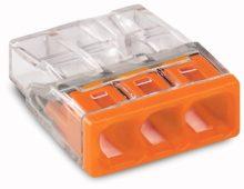 Vezeték összekötő 3 x 0,5-2,5mm2 -es tömör vezetékhez, nem oldható, átlátszó házban, narancssárga fedéllel WAGO ( 2273-203 )