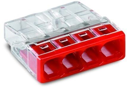 Wago 2273-204, vezeték összekötő 4 x 0,5-2,5mm2 -es tömör vezetékhez, nem oldható, átlátszó házban, piros fedéllel WAGO ( 2273-204 )