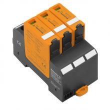 DC túlfeszültség levezető szolár napelemes (PV) rendszerekhez ( cserélhető betétes ) 3 pólus, C (T2) fokozatú, távjelzés nélkül, VPU PV II 3 1000 solar (WEIDMÜLLER 2530550000)